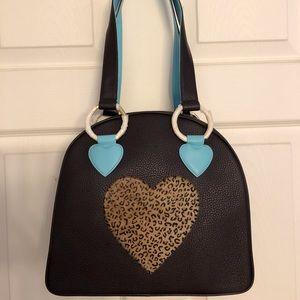 Sweetooth cheetah heart bowler purse New